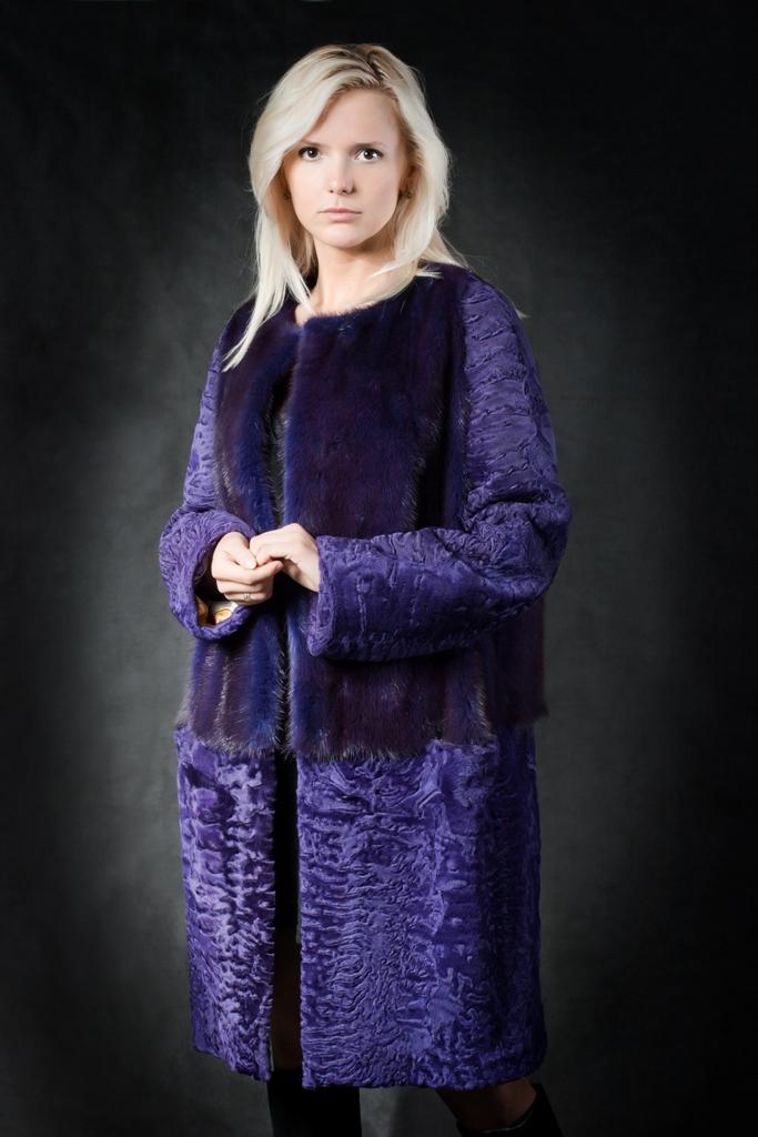 Комбинированное меховое пальто №3