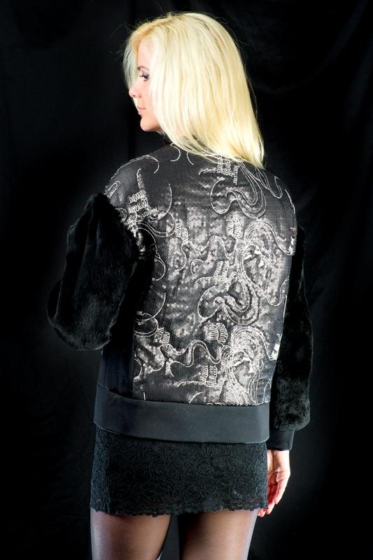Куртка с меховыми рукавами