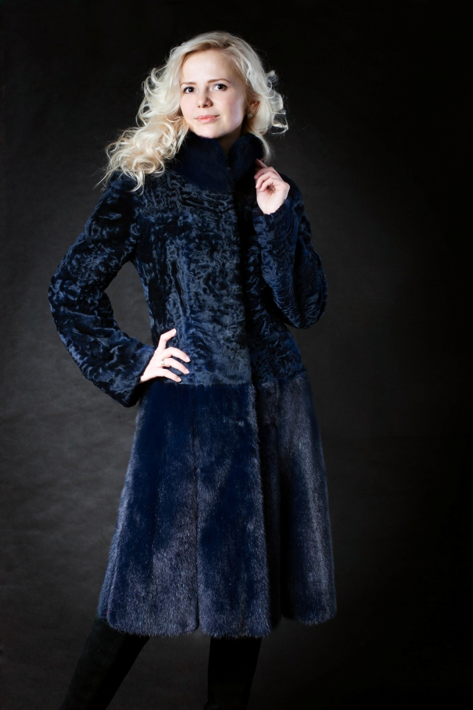 Комбинированное меховое пальто №1