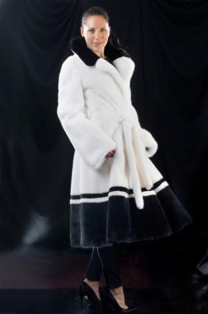 Комбинированное норковое пальто