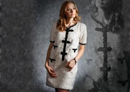 Платье из белой каракульчи Swakara