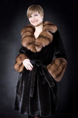 "Меховое пальто ""black glama"""