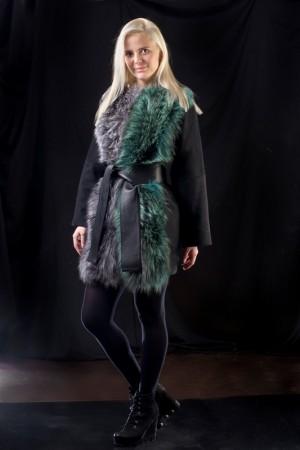 Меховое пальто двуцветное