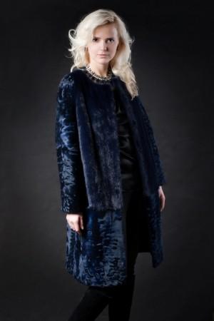 Комбинированное меховое пальто №2